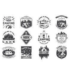 Set camping badges concept for shirt vector