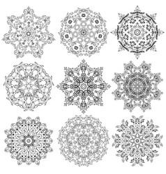 Set circular ornaments vector