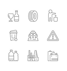 set line icons trash vector image