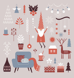set nordic christmas graphic elements vector image