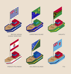 Set of isometric ships with flags of oceania vector