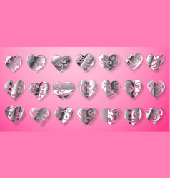 Set shiny silver hearts vector