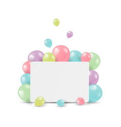 shiny balloons with card for congratulations vector image