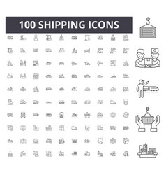 shipping line icons signs set outline vector image