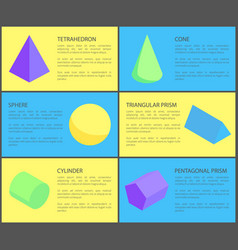 six geometric posters color vector image