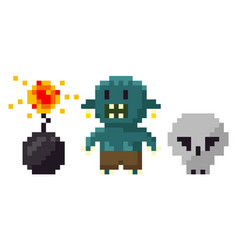 Skull and troll bomb with fire pixel game vector