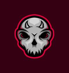 skull mascot logo with little horn gaming vector image