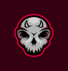 Skull mascot logo with little horn skull gaming vector