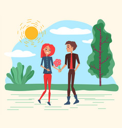 smiling lovers with flowers walking in park vector image