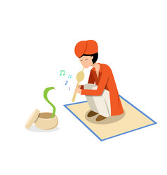 Snake charmer and cobra in flat design vector