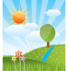 Spring sunny landscape vector