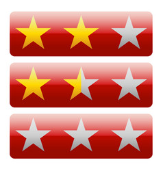 star rating graphics with 3 stars for review vector image