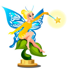 statue of a young beautiful fairy girl with a vector image