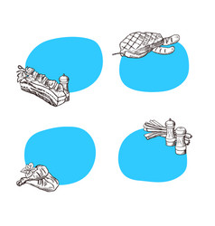 stickers with place for text with hand vector image