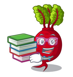 Student with book whole beetroots with green vector