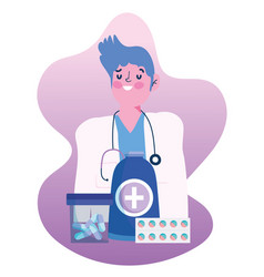 Thanks you doctors physician with medication vector