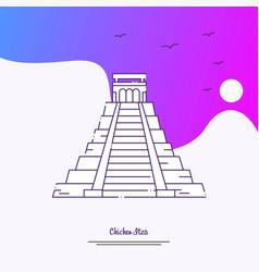 travel chichen itza poster template purple vector image