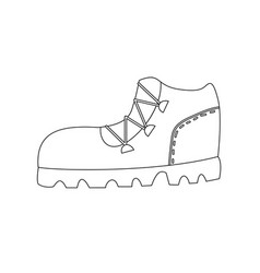 trekking boot outline coloring page vector image