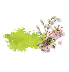 Watercolor spring banner vector