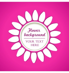 white flower on pink background vector image vector image