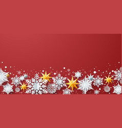 winter decoration with snowflakes stars on red bg vector image