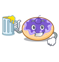 With juice donut blueberry mascot cartoon vector