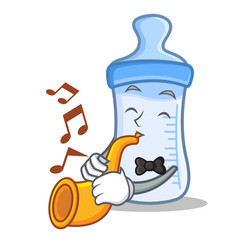 with trumpet baby bottle character cartoon vector image