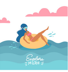 young woman in swimsuit and snorkeling mask vector image