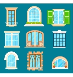 Detailed window set isolated vector image vector image