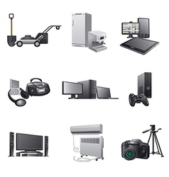 household and electronic appliances icon set vector image