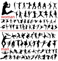 Jumping silhouettes vector