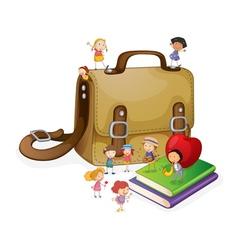 kids and bag vector image