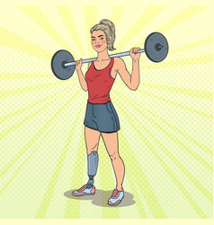 pop art disabled woman with prosthesis in gym vector image