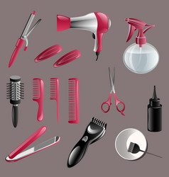 set of hairdressing accessories vector image
