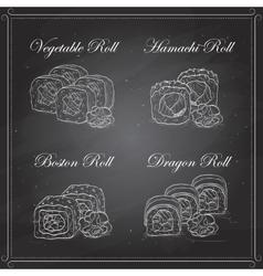 sushi sketch set vector image vector image