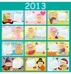 Babys monthly calendar for 2013 vector image vector image
