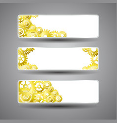 golden gear banners set vector image vector image