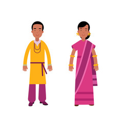 indian man and woman in traditional clothing vector image vector image