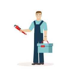 plumber or mechanic with a wrench and a tool box vector image vector image