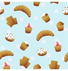 seamless pattern with cute cupcakes vector image