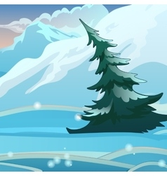 Snow valley with mountains and spruce vector image