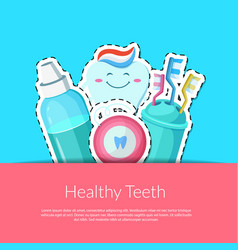 cartoon teeth hygiene stickers vector image vector image