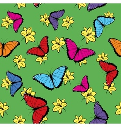 Flowers and Butterflies Seamless Pattern vector image vector image