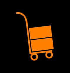 hand truck sign orange icon on black background vector image