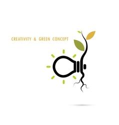 Plant growing inside the light bulb logo vector image