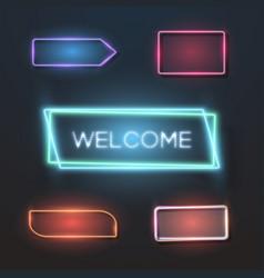 big set of neon sign plates vector image