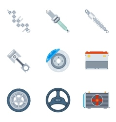 Car spare parts flat icons vector image vector image