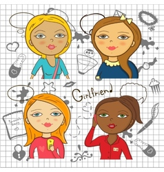 Colorful cartoon girls with accessories vector image vector image