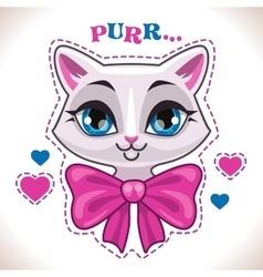 Cute cartoon white cat vector image vector image