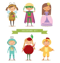 Cute kids in different costume vector image vector image